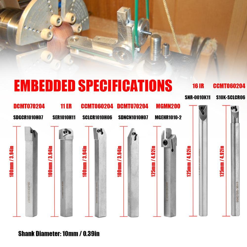 21pcs 10mm токарный станок Расточной карбид вставить ключ токарный инструмент держатель набор