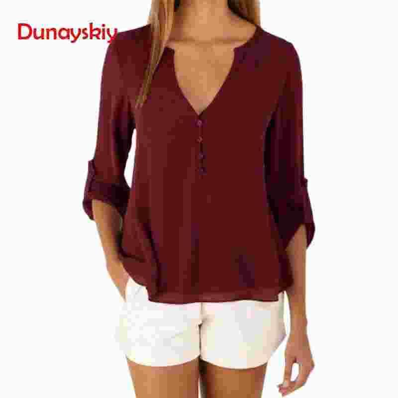 Spring Stylish Women Chiffon Blouse Shirt 2019 V-Neck Long Sleeve Female Tops Casual Solid Color Woman Plus Size Clothing