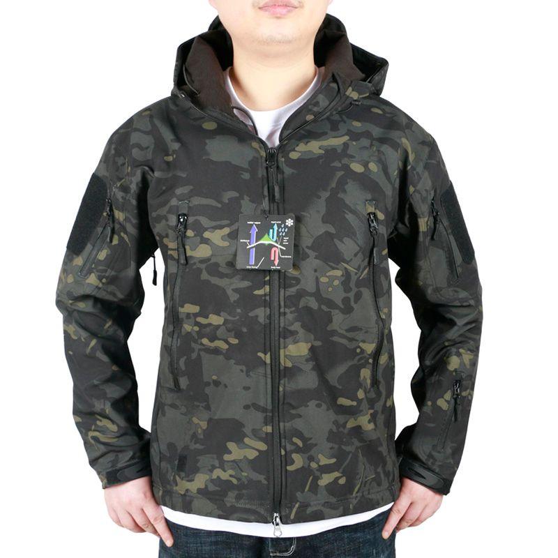 ecb06224cf668 Men's Camouflage Fleece Jacket Tactical Hunting Gear Waterproof Army Coat  Outdoor Jackets hunting hoodie