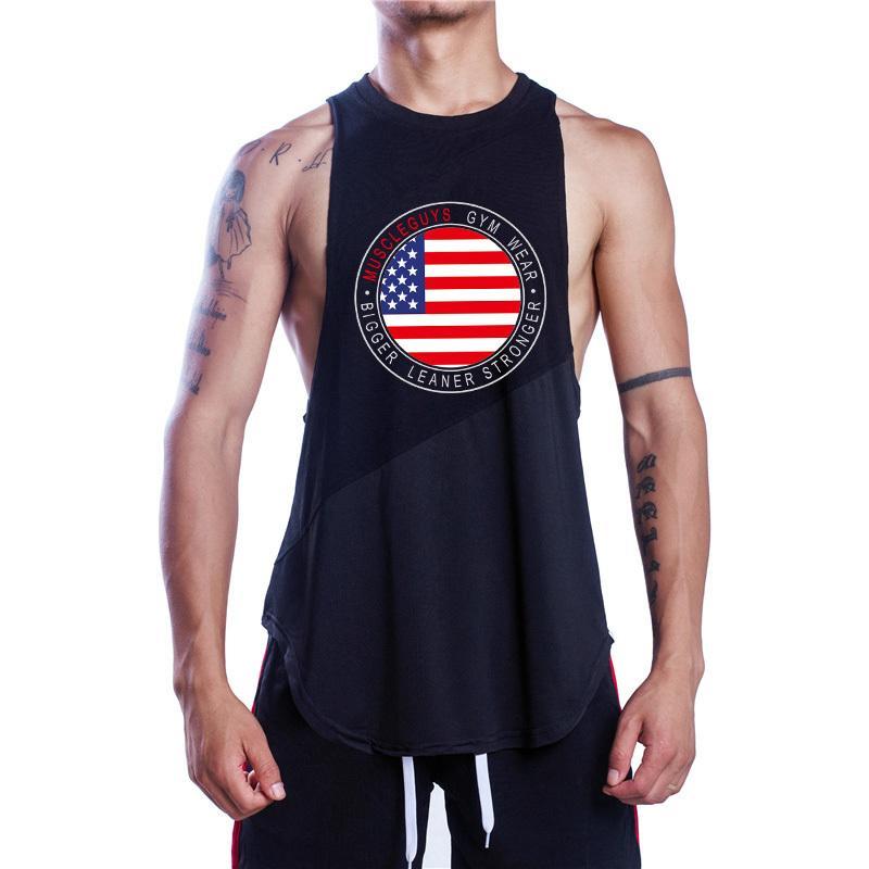 wholesale dealer 24a23 37683 Muscleguys Marke Bodybuilding Ärmellose Shirts Herren Fitness Stringer Tank  Tops Sportwear Weste Baumwolle Mesh Gyms Kleidung