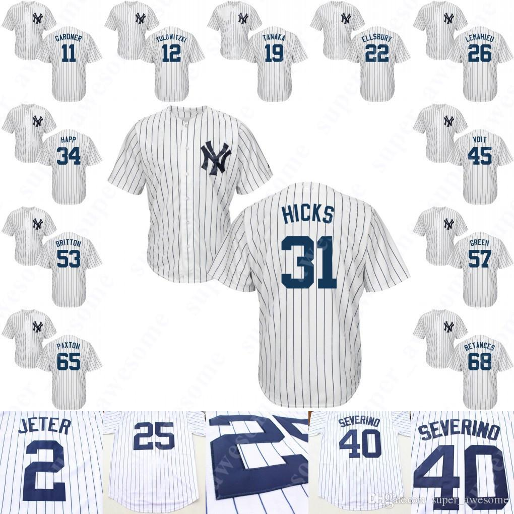 2019 New York Aaron Hicks Jersey Jacoby Ellsbury Troy 12 Tulowitzki DJ  LeMahieu Clint Frazier Brett Gardner James Paxton Chad Green Betances Happ  From ... 1bdc581bae9