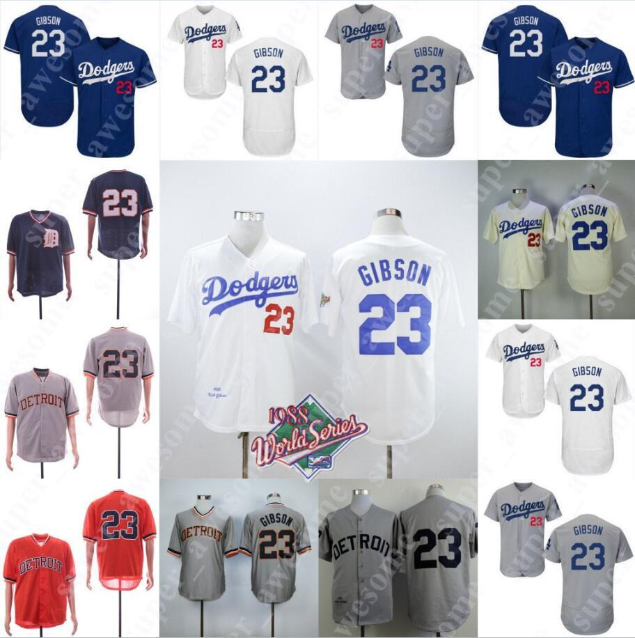differently 5cd91 38ab1 23 Kirk Gibson Jersey 1988 WS Patch Los Angeles 23 Dodgers Tigers Baseball  Jerseys White Grey Blue