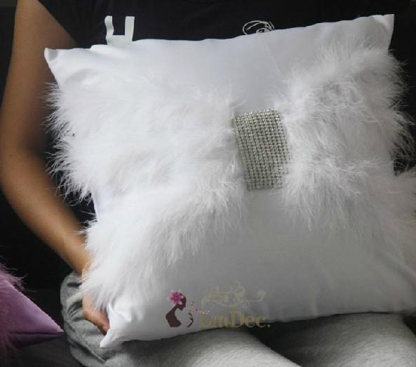 Wholesale-#706 Freeshipping Macrotrichia feather&diamond a sofa pillow cushion back cover customize home decoration fabric