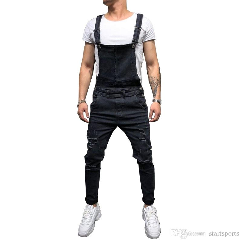 112a2d9a4ade 2019 Fashion Men S Ripped Jeans Jumpsuits Hi Street Distressed Denim Bib  Overalls For Man Suspender Pants Size S XXXL  345686 From Startsports