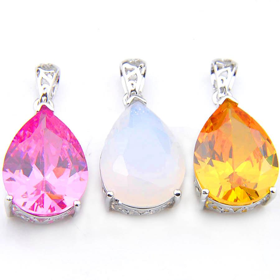665027be1 Wholesale Mix Style /Wholesale Water Drop Pink White Yellow Holiday Jewelry  Gift Classic Crystal Gems 925 Silver Engagement Necklaces Pendan Photo  Pendant ...