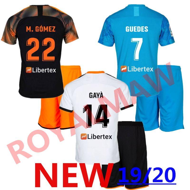 online store 2413a f8f1c 19/20 Valencia CF Soccer Jersey GAYÀ Valencia 2019 2020 Kids Uniform  Football Kit Shirt Shorts Set RODRIGO S.MINA Home Away Third Blue GÓMEZ
