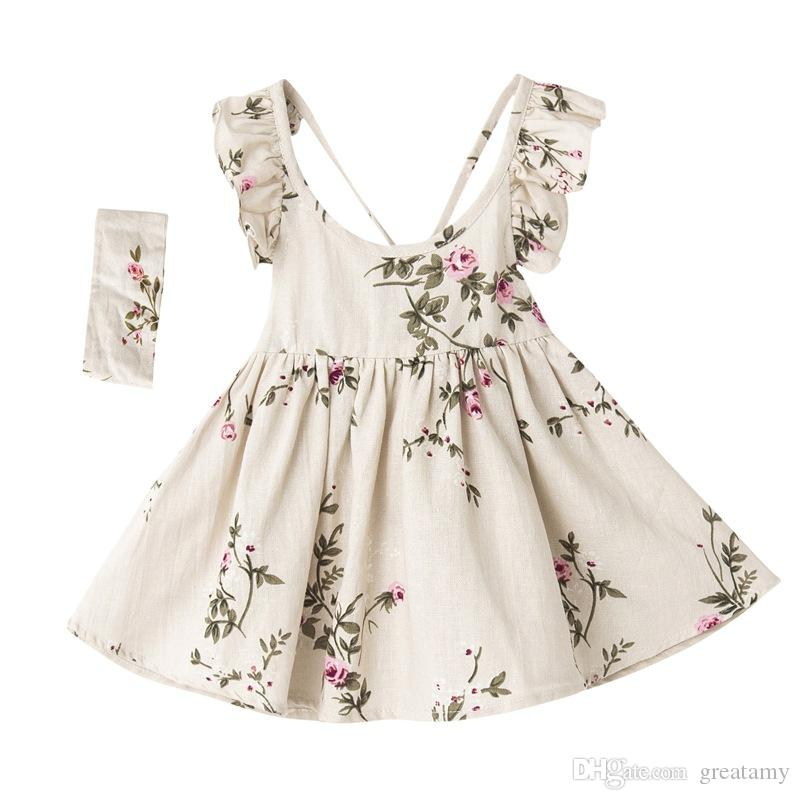 100% Flax material Peach flower baby girls dress Lotus Leaf Girls Summer Dresses kids boutiques clothing with headband