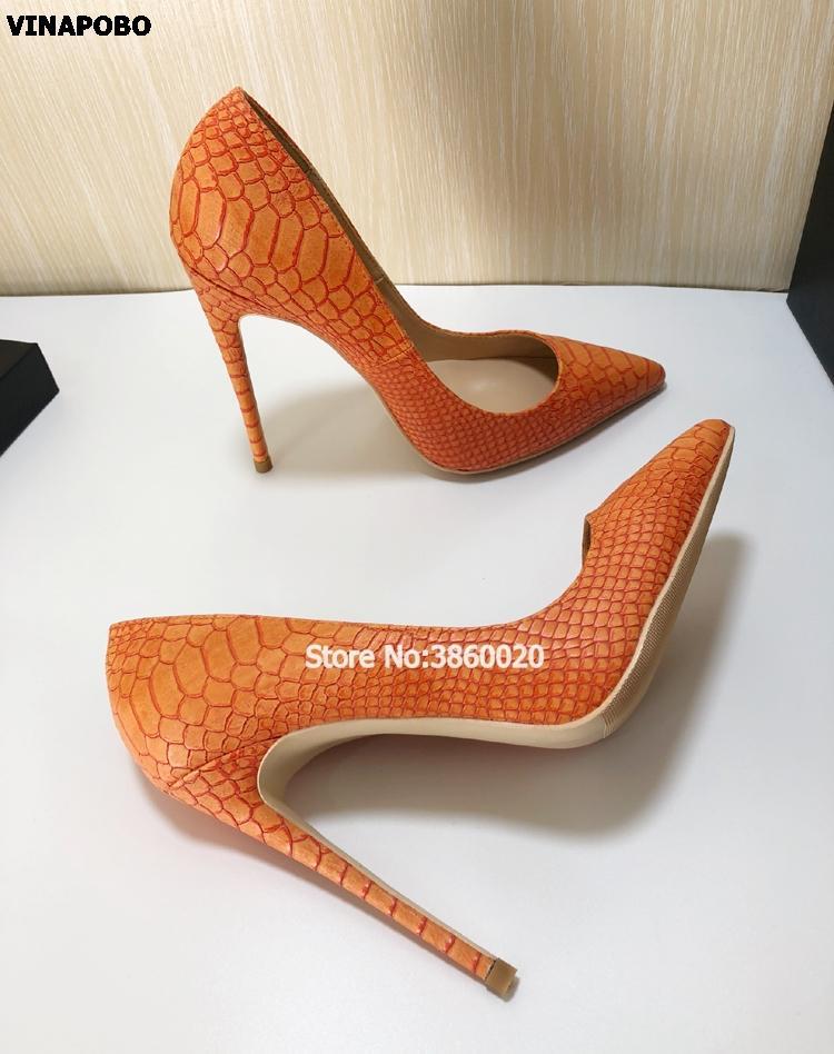 99f8b4c93 Acheter Vente En Gros Femmes Talons Hauts Orange Serpent Imprimé ...