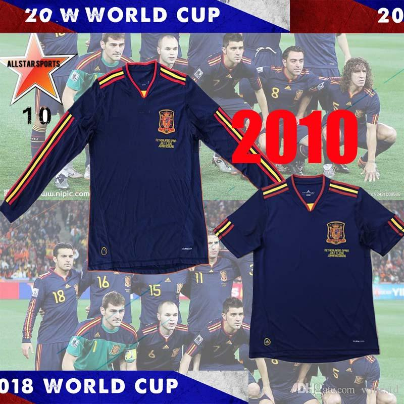 top 2010 World cup Spain Fernando Torres Alonso Sergio Ramos Iniesta Retro soccer jerseys 10 Classic Shirts Vintage football Shirt Long Slee