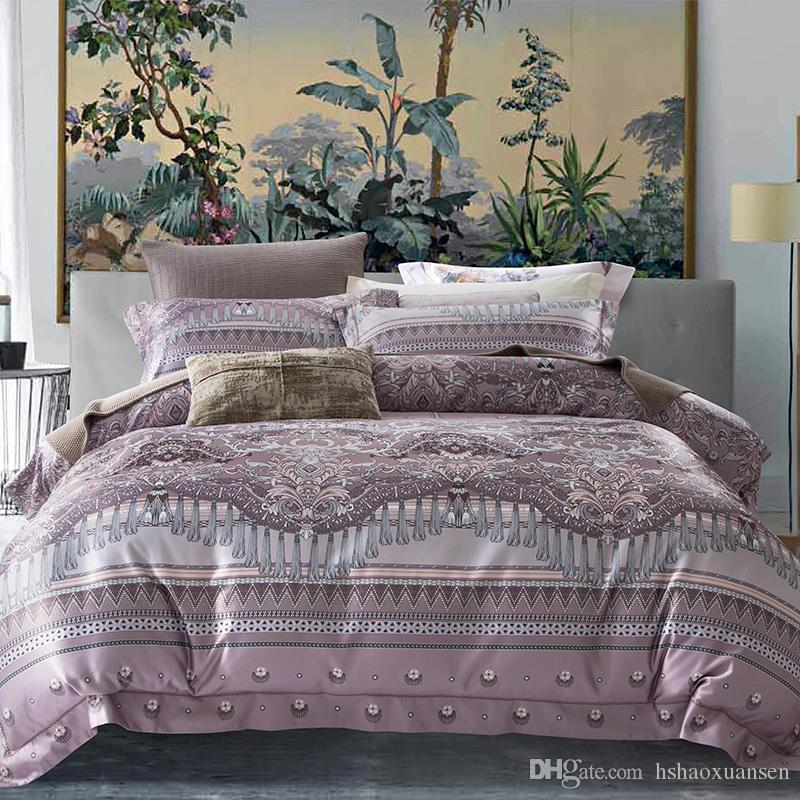 047687bd1594 Purple Grey Retro Nostalgic Bedding Sets Tassel Geometric Floral Digital  Print Slik Cotton Duvet Cover And Bed Sheet Set Queen King Size Duvet Covers  ...