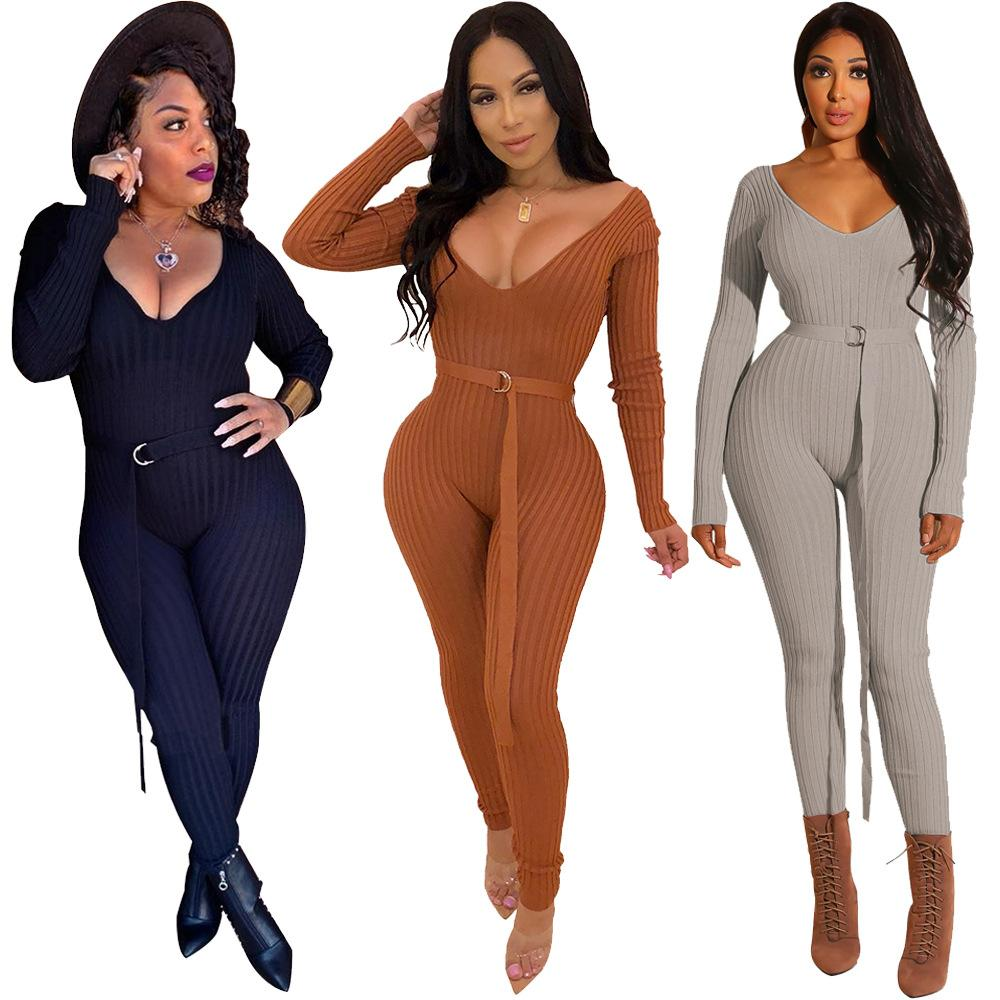 f4c36bdd105 Sexy Low Cut V-neck Jumpsuit Women Long Sleeve Cold Should Knit ...