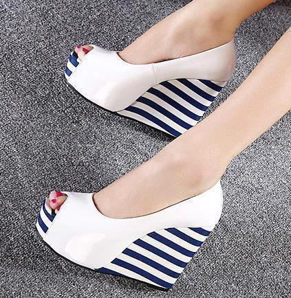 93836372923 Charm2019 Sweet Navy Stripes White Wedge Shoes Peep Toe Platform Wedges  Black Patent Leather Shoes 2 Colors To