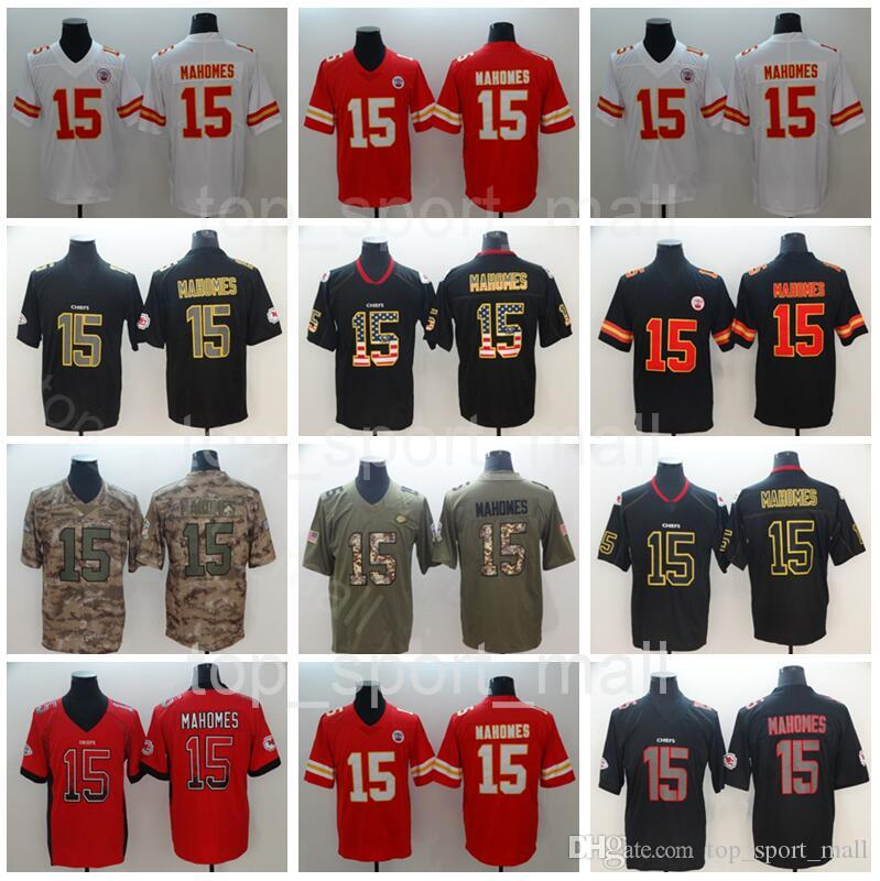 28c828247 Men Kansas City Football 15 Patrick Mahomes Jersey Chiefs Red White Black  Green Camo Vapor Untouchable Salute To Service Uniform UK 2019 From  Top sport mall ...