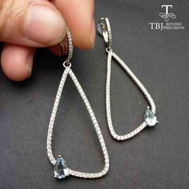 2071c24c8 2019 TBJ,Stylish Earring In 925 Silver With 100% Natural Aquamarine,Simple  And Elegant Earring Clip Design For Ladies With Gift Box Y18110503 From ...