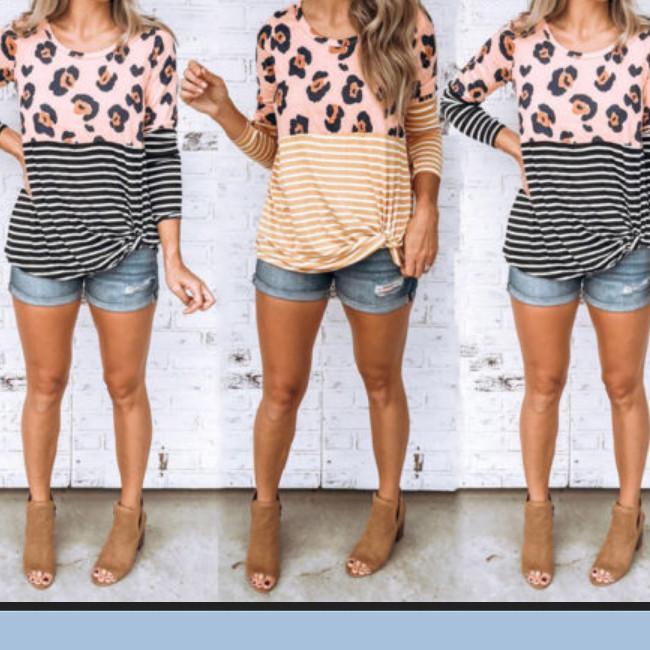 2019 новая мода Женская с длинным рукавом полосатый шить печатных топы Leopard блузка повседневная рубашка