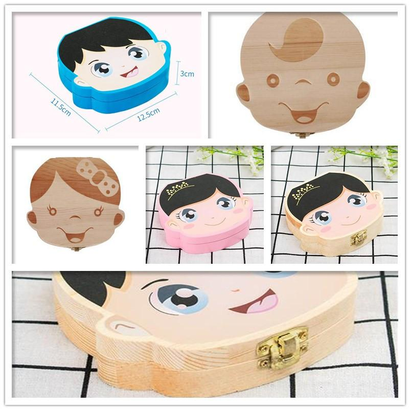 Designer Baby Tooth Box Storage Kids Teeth Container Creative Girls Boys Colored Image Wooden Organizer Deciduous Teeth Boxes KidsGiftC61406