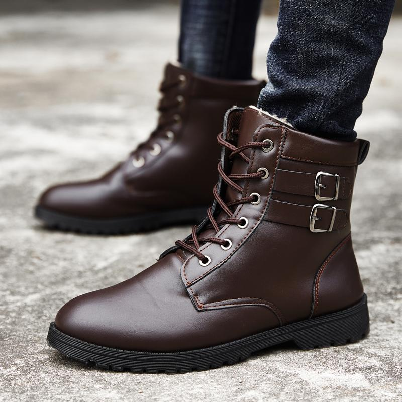 415dec87 Compre 2019 Nueva Tendencia Para Hombre Botas Casuales De Cuero De La Pu  Primavera Martins Botas Hombres Top Superior Juvenil Zapatos Casuales Moda  Para ...