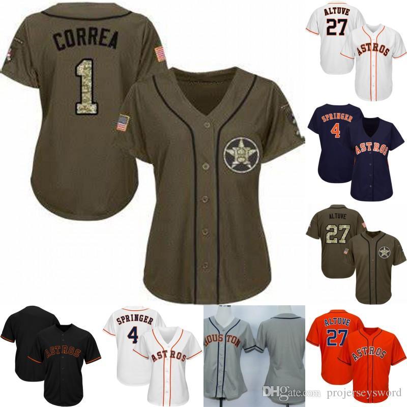 buy online ebf0c ada68 Womens & Youth Houston Jersey 2 Alex Bregman 1 Carlos Correa 4 George  Springer 27 Jose Altuve 35 Justin Verlander Astros Baseball Jerseys