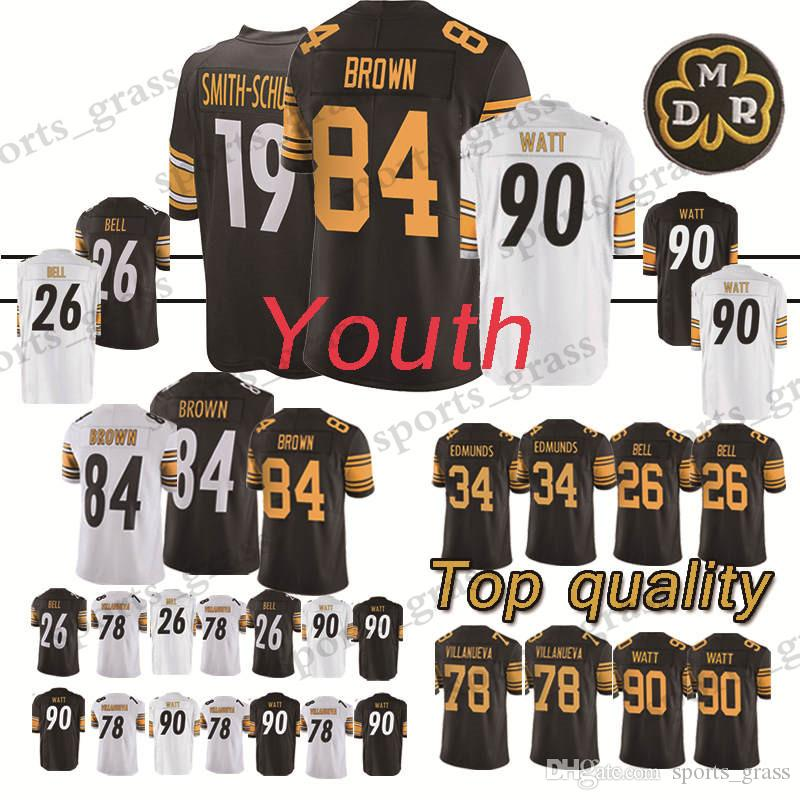 2ad947b5b8d ... spain 2019 touth 84 antonio brown pittsburgh steeler jersey 90 t.j. watt  26 le veon bell