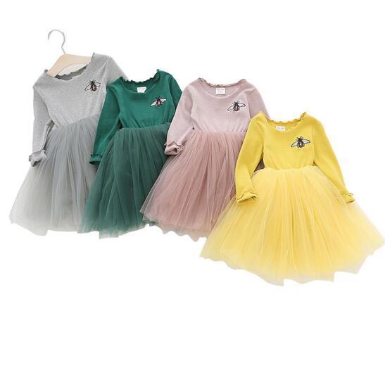 d111ba65f Ropa para niños niña Vestido de cuello redondo Abeja Malla bordada Vestido  TUTU niña Ropa de primavera otoño Vestido