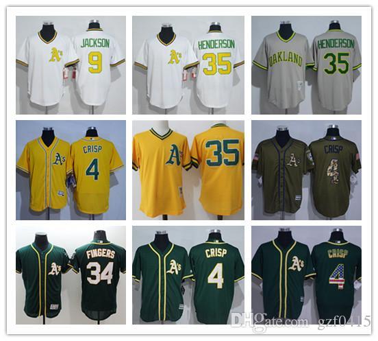 da92a7f5a Men s women Oakland Athletics Jersey  4 Coco Crisp 9 Reggie Jackson 34  Rollie Fingers 35 Rickey Henderso Yellow Baseball Jerseys