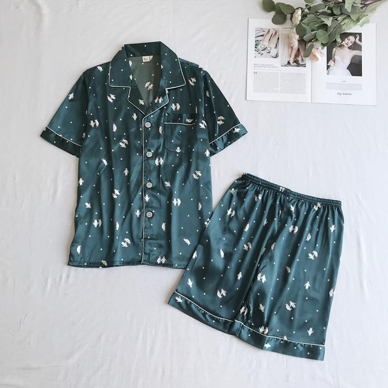 Summer New MenWomen Nightwear 2PCS ShirtShorts Short Sleeve Intimo Lingerie Negligee Casual Lovers Pigiama Set Home Clothes