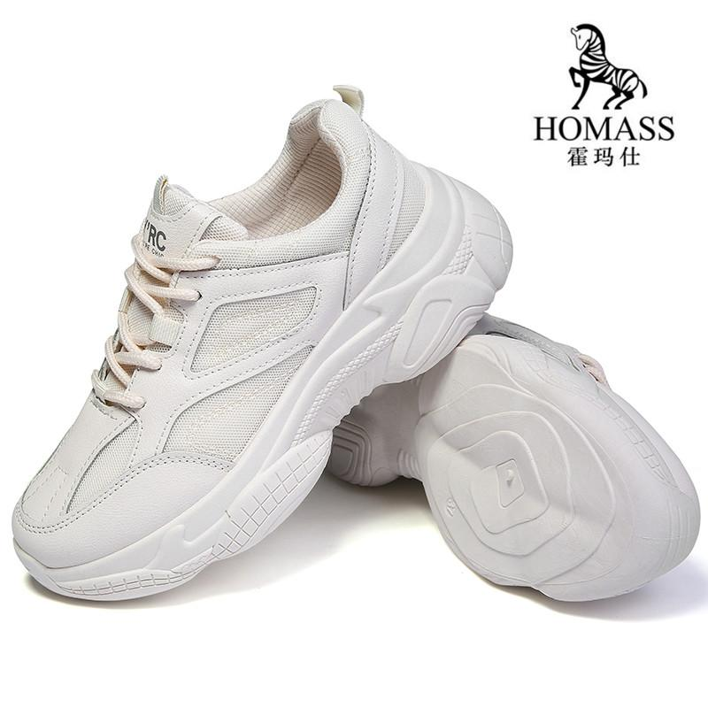Homass 2019 Spring New Casual Shoes High Top Flat Black White