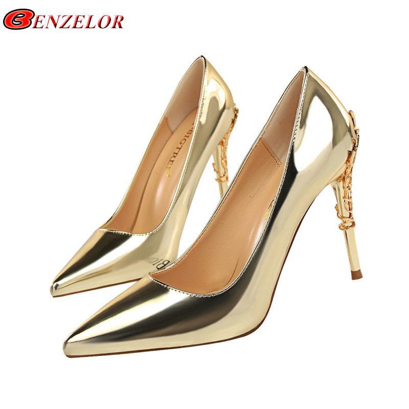 5bf22784 Compre Vestido Benzelor 2019 Verano De Cuero Dorado Dorado Boda Elegante  Tacones Altos Zapatos Mujer Bombas Mujer Punta Estrecha Mujer Damas Sexy A  $33.56 ...