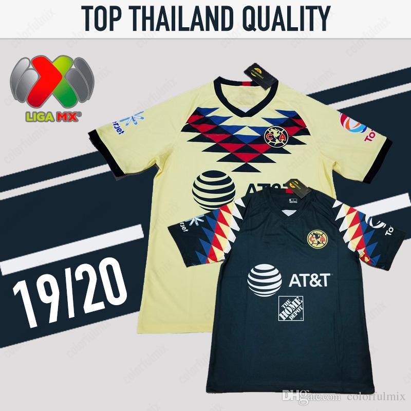 ee0d12059f8 Jerseys De Fútbol 2019 México LIGA MX Club América Inicio 19/20 Camisetas  De LIGA MX Clubes América Chivas Tigres Camisetas De Fútbol 2020 Uniformes  Por ...