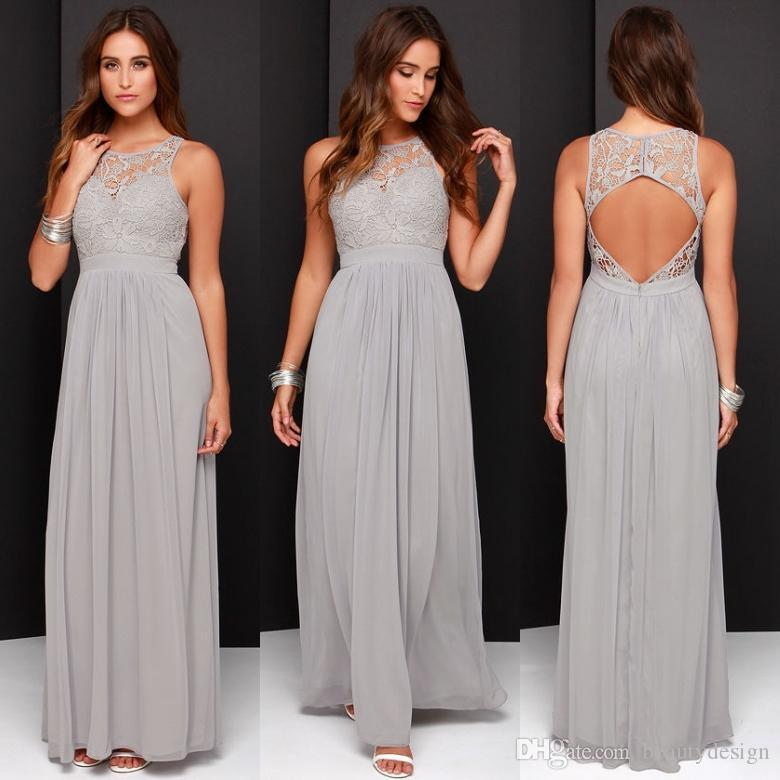 Simple 2019 Gray Long Bridesmaid Dresses Chiffon Pleats Lace Applique  Bridesmaid Dresses For Girls Open Back Wedding Party Grey Bridesmaid Dresses  Beach ... 13dfdfd978ae