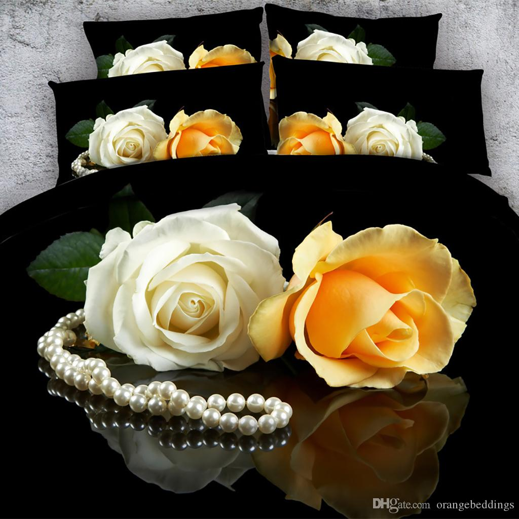 3D Pearl rose Duvet Cover with pillow cases Bedding 3 PCS Set, Microfiber Comforter Cover, Zipper Closure