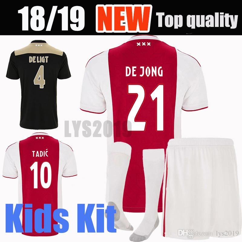 402c93abb 2019 Ajax Home Red Soccer Jerseys 18 19 Ajax Away Shirts 2018 2019  10 TADIC  ZIYECH DE JONG SCHONE Champions Kids Youth Football Uniform From Lys2019