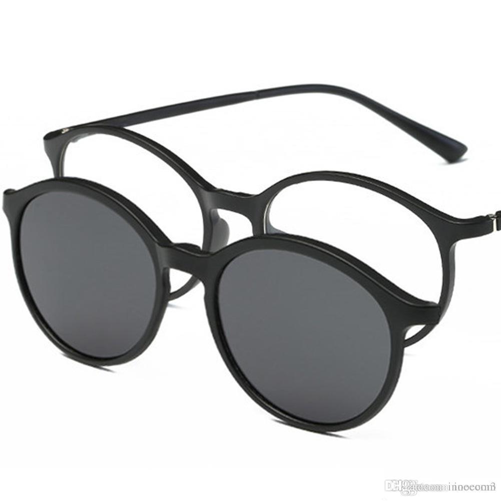 91fe1c1d3a Compre 2 En 1 Clip Polarizado En Gafas De Sol Hombres Mujeres TR90 Montura  De Gafas Magnéticas Para Anteojos Masculinos Que Conducen Gafas De Sol  Redondas A ...