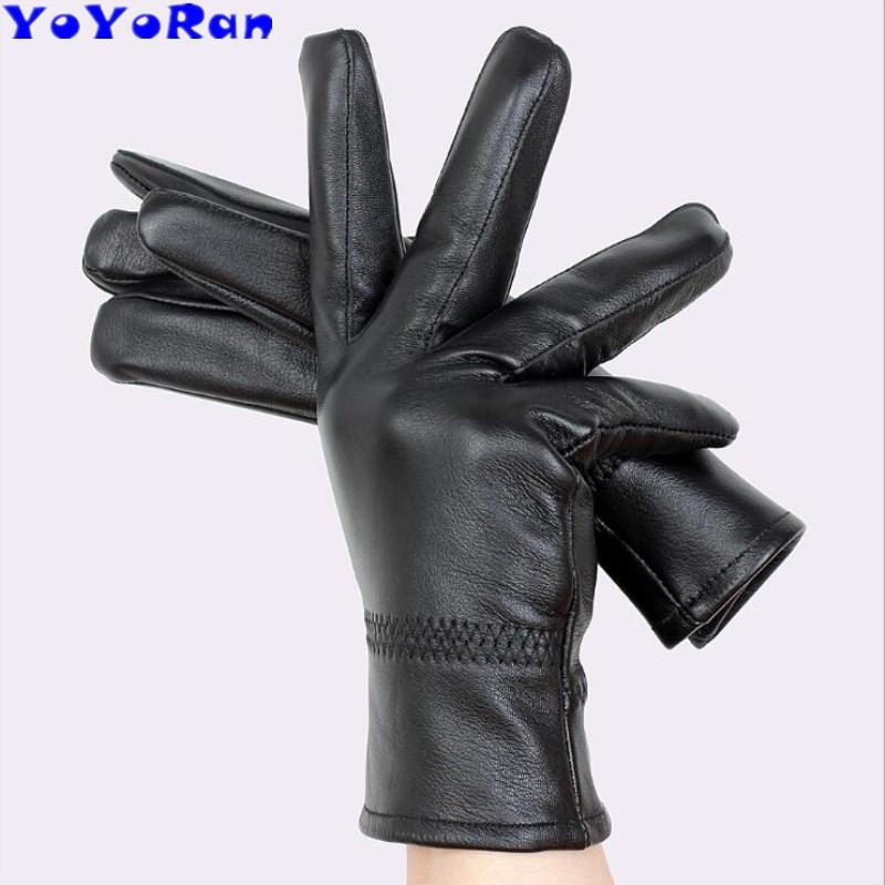 YoYoRan sheepskin leather glove for man woman solid black sheep goat skin leather gloves Christmas boyfriend gift Mittens