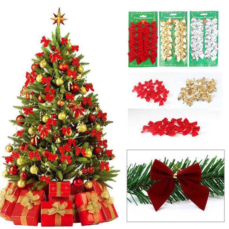 Christmas Tree Bow.12pcs Gold Silver Red Pretty Bow Tie Christmas Tree Decoration Xmas Ribbon Bows Festival Pendant Home Bowknots Baubles New Decor
