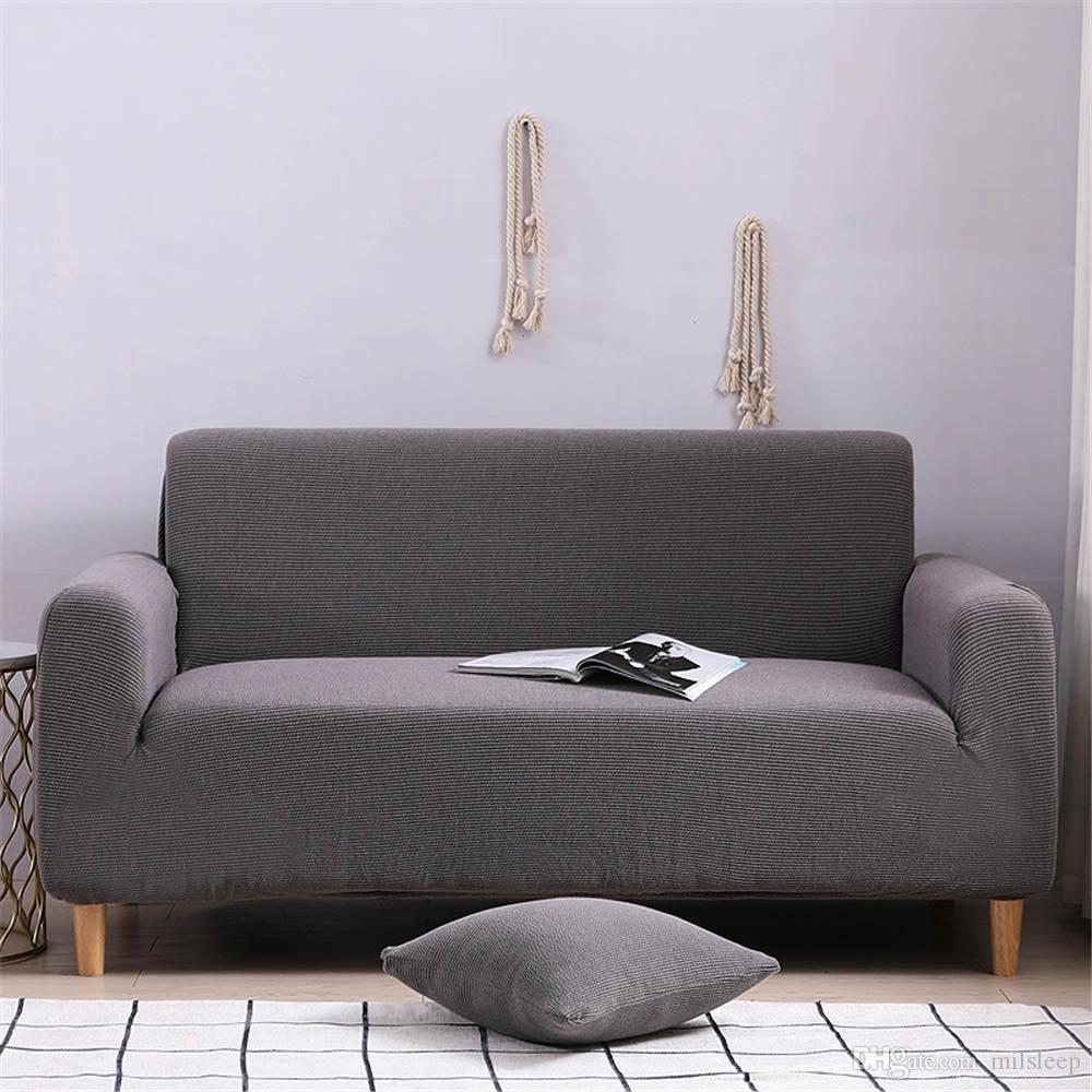 High Quality color corner sofa cover winter warm Deep gray sofa covers elastic for living room of furniture covers