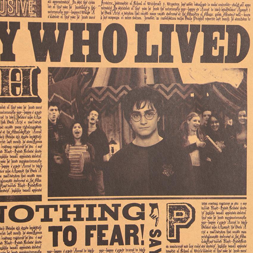 Çocuk Odası Ev Dekorasyonu Duvar Kağıdı Toptan Postası Retro Poster Harry Potter Klasik Film Duvar Sticker