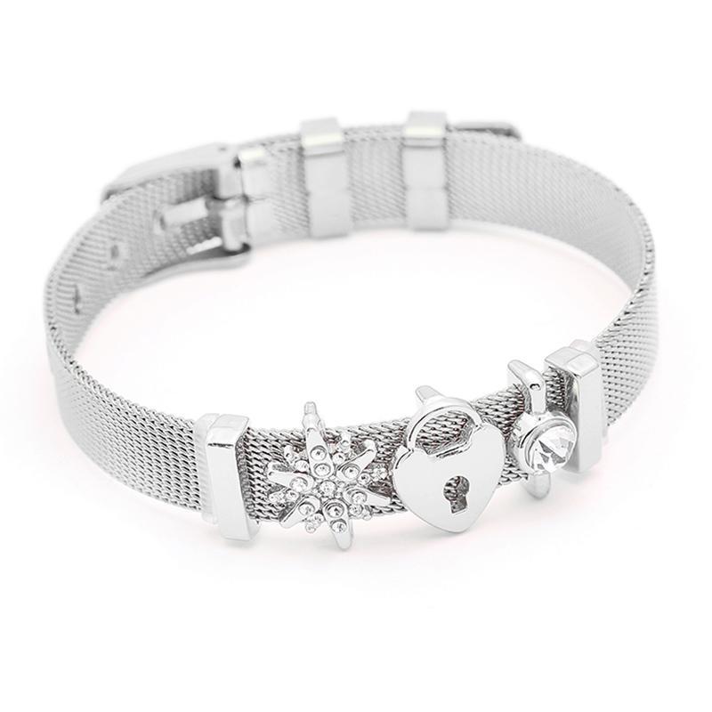 Mode En Acier Inoxydable Femme Hommes Bracelet Maille Bracelet Ensemble Cristal Coeur Ancre Charme Pandora Bracelet Bracelet Pour Amant Féminin