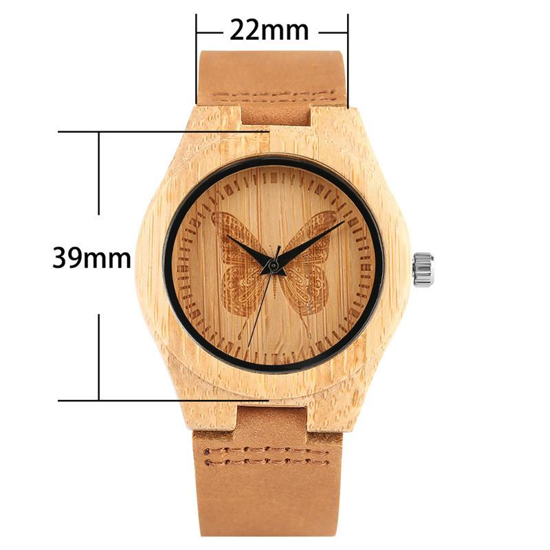 a5a10c2fafc Atch Relogio Beautiful Butterfly Decoration Dial Wood Watches For Ladies  Girl Women Handmade Bamboo Wristwatch Quartz Watch Relogio Femin.