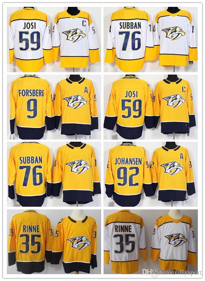 2019 2018 Mens Season Nashville Predators 9 Filip Forsberg 35 Pekka Rinne  59 Roman Josi 76 PK Subban 92 Johansen Hockey Jerseys From Flysport 86207118d