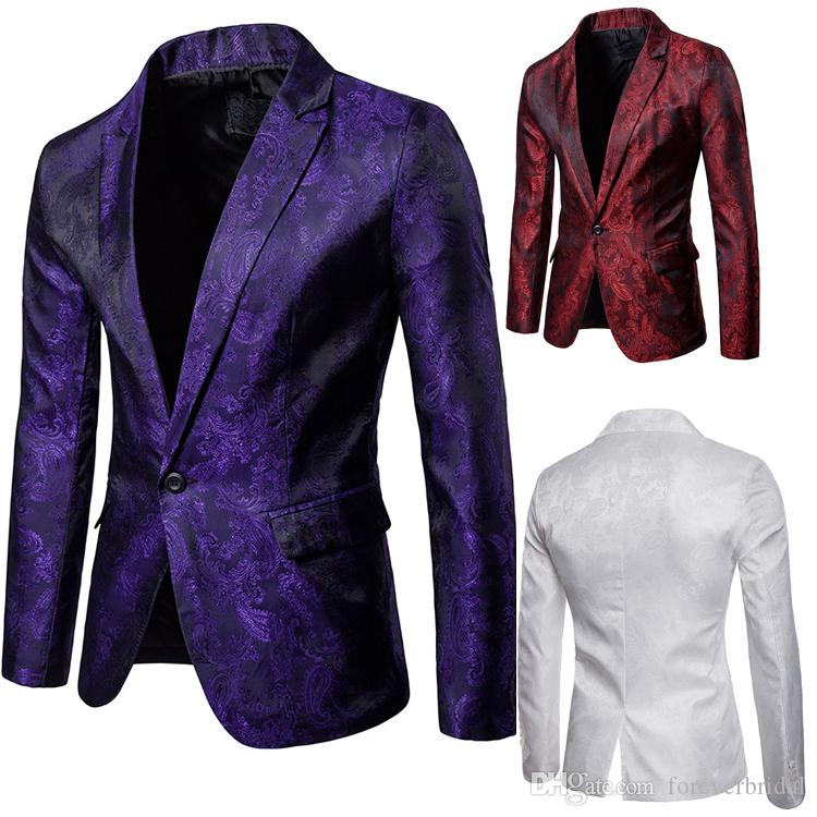 In Stock 6 Colors Mens Designer Jackets Floral Pattern Groom Wedding Tuxedos Peaked Lapel One Button Blazer 1 piece