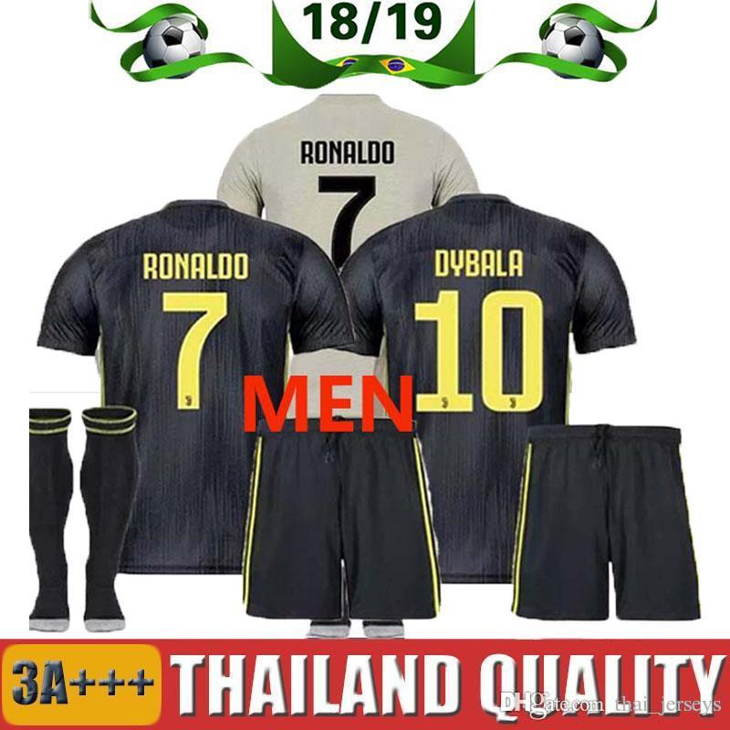 f5c1d6a88 2019 FREE Ship Champions League 2018 Adult RONALDO JUVENTUS Soccer Jersey  Men Kit 18 19 Away Home 3rd DYBALA Mandzukic JUVE Costa Football Shirt From  ...