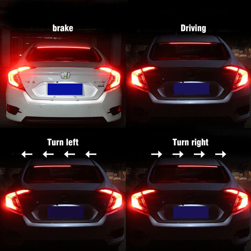 12V Multifunction LED Third Brake Light lamp Strip 100cm Rear Tail Stop  Signal Safety led Warning additional brake light