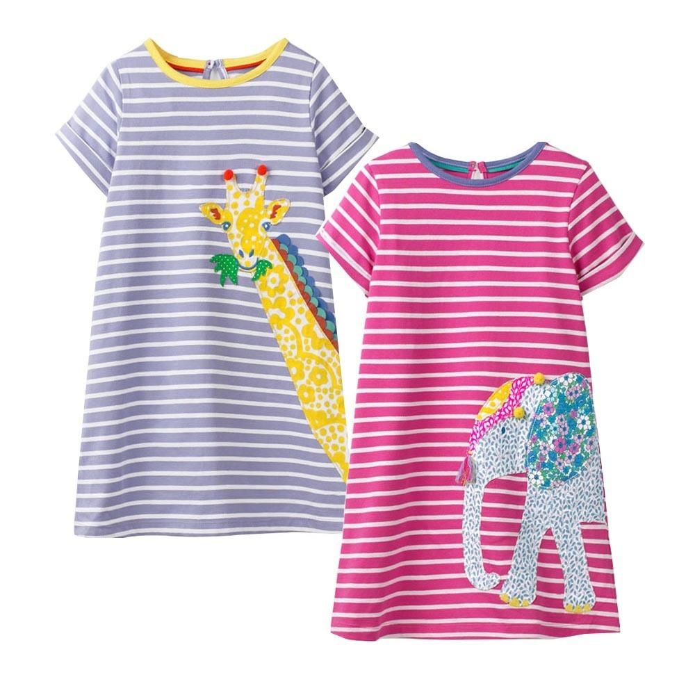 8602ce4959a12 Jumping Meters 2pcs Girl Dress With Animal Applique Unicorn Party Kids  Dresses For Girls Princess Dress Summer Baby Girl Clothes J190513