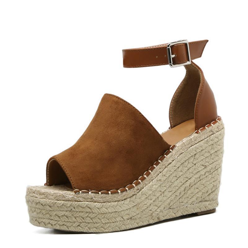 468c84cb14e Summer Brown Flock Women Platform Sandals Peep Toe Wedge Espadrilles Women  Buckle Strap Comfortable Women Sandals Chaco Sandals Jack Rogers Sandals  From ...