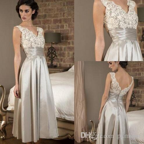 8d54d0b1b55 2019 Tea Length Mother Of Bride Dresses Vintage Plus Size Lace V Neck  Backless Ruffles Applique Party Dress For Special Occasion Summer Mother Of  The Groom ...