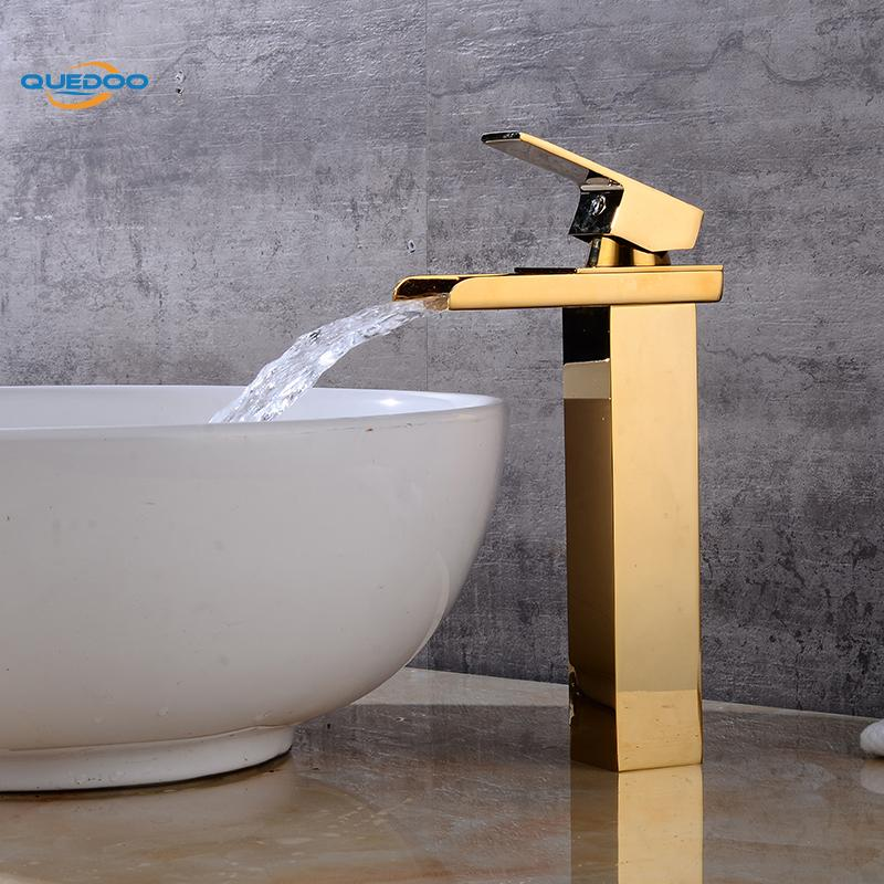 Waterfall Spout Bathroom Sink Faucet Basin Single Handle Deck Mount Gold Finished Mixer Taps