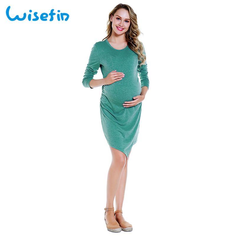 1e1d8b04b ... Vestidos De Maternidad De Color Sólido Para Mujeres Embarazadas Vestidos  De Maternidad Asimétricos Ropa De Embarazo Vestido De Enfermería De Manga  Larga ...