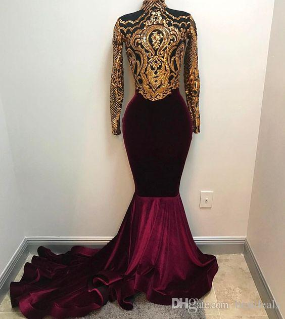 Real Photos 2019 African Gold and Burgundy Mermaid Prom Dresses High Neck Long Sleeves Velvet Evening Dress Arabic Party Gowns