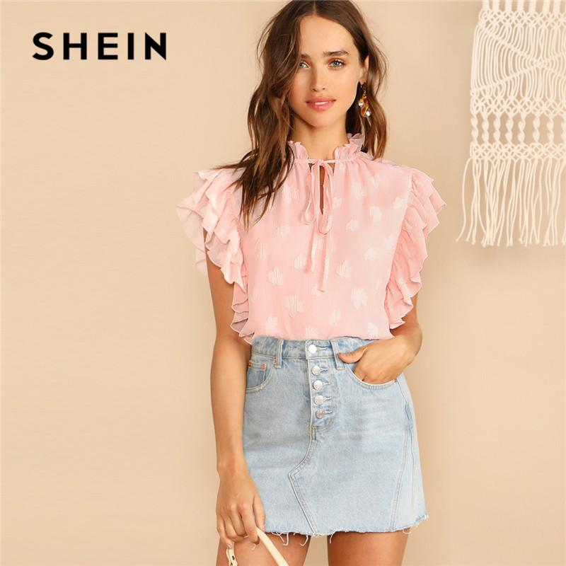 SHEIN Pink Frill Tie Neck Strutturato Leaf Layered Ruffle Sleeve Camicetta Ladies Tops Summer Stand Collar Womens Tops E